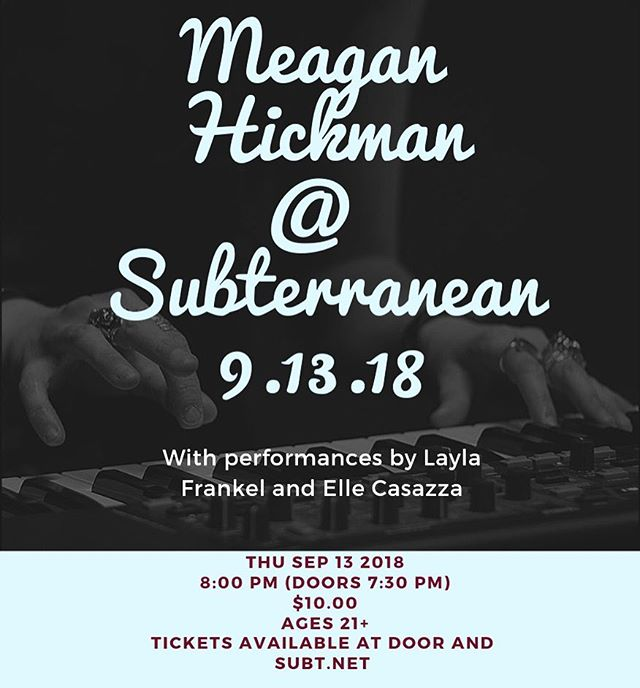 THIS THURSDAY! @subtchicago  Party starts at 8pm sharp!  Adv tics: https://bit.ly/2O63yi4 .. .. .. .. .. .. .. .. .. .. .. .. .. #livemusic  #originalmusic  #originalartist  #chicagomusic  #chicago  #liveshow  #singersongwriter  #pop  #soul  #rock  #funk  #newmusic #thursdaynight  #thisweek  #goodvibes  #dance  #groove  #staytuned  #meaganhickman  #meaganhickmanmusic #mondaymotivation  #mondaymusic