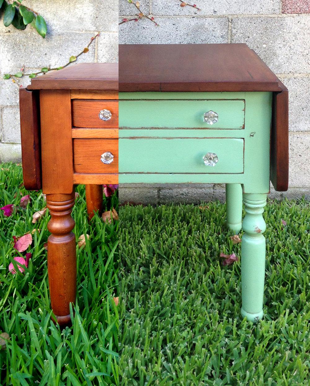 crimson + oak designs | mint chocolate drop leaf table BEFORE & AFTER.jpg