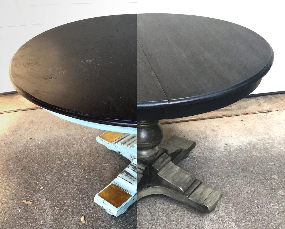 crimson + oak designs | graphite pearl pedestal table BEFORE & AFTER.jpg