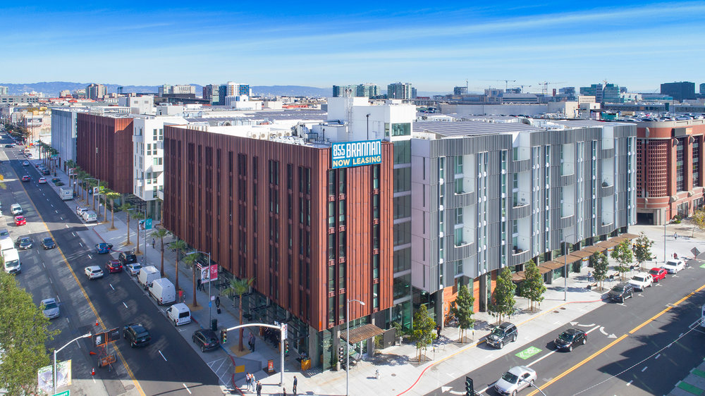 855 Brannan Street San Francisco, CA : This recently completed 125,000 square foot, 6-story building has 449 Multi-Family apartments and Ground Floor Retail. The building is located in the Showplace Square neighborhood of San Francisco.