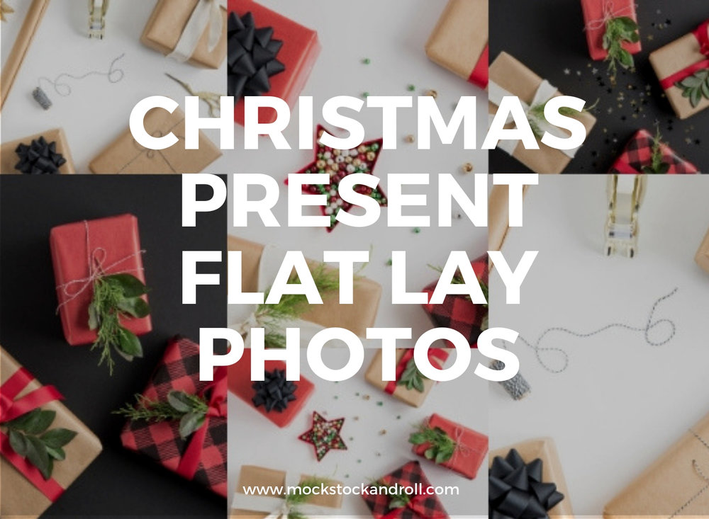wrapping paper christmas present flat lay photos mock stock and roll