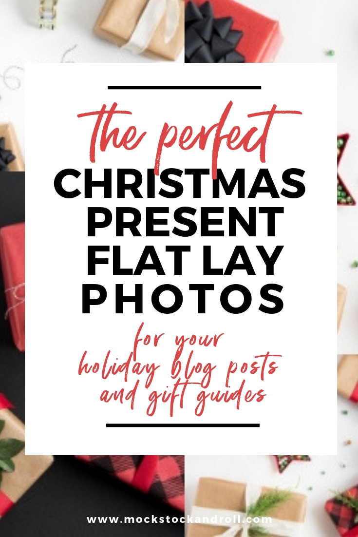 Are you creating gift guides or blog posts around gift giving during the holidays?  You need awesome flat lays to go with your work!  These portrait and landscape Christmas present flat lay photos are crisp, clean, and classic.  They're also perfect for your social media posts—add your logo and some text overlay to really make them your own!  Repin and save for later!!  #mockstockandroll #styledstock #christmaspresents #wrappingpaperideas #bloggingtips #influencermarketing #minimalistic #redbuffalo