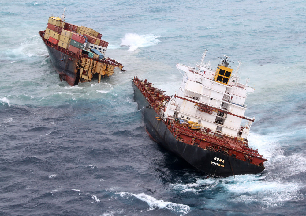 Rena split into two early in January 2012 due to the pressure on her hull.   Image credit: Maritime New Zealand