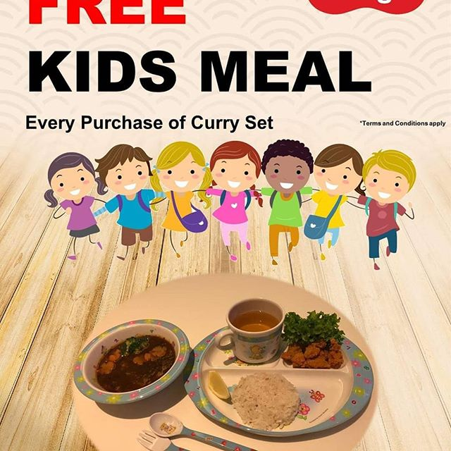 Hi guys! We have another exciting promotion  this upcoming weekend!  KIDS EAT FREE WITH EVERY PURCHASE OF CURRY SET!  Please come and visit us at B2-53, Capitol Piazza!  Let the fun-filled weekend begins!