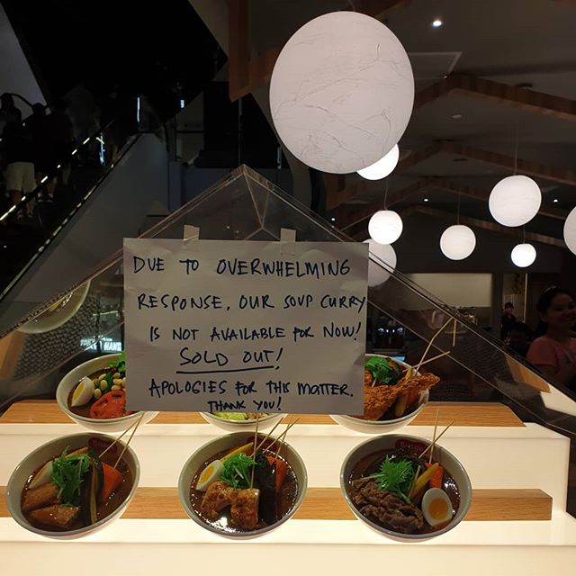 Wow! SOLD OUT!!!!!! Due to overwhelming response, our Soup Curry is sold out for the day!!! Thank you for your enthusiastic support!  Our sincere apologies for those who missed out!  See you tomorrow! #jewelchangiairport