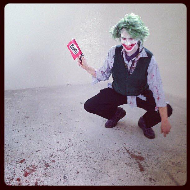 Aubrey cosplaying the Joker  Comicpalooza 2013