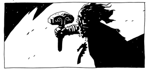 """If I had a hammer... Obvious Norse inspiration in this illustration from novel ""Hellboy: The Bones of Giants""."