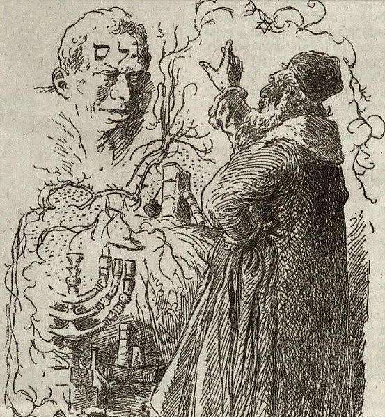 Rabbi Löw oživuje Golema -   Mikoláš Aleš    (1852–1913)