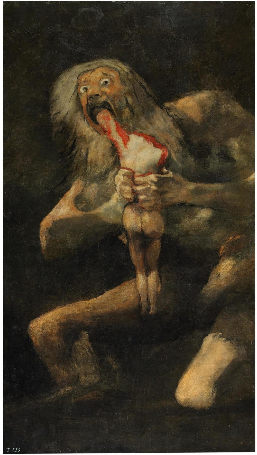 """Goya or Pickman?  Francisco de Goya, Saturno devorando a su hijo, """"Saturn devouring his young"""" (1819-1823)"""