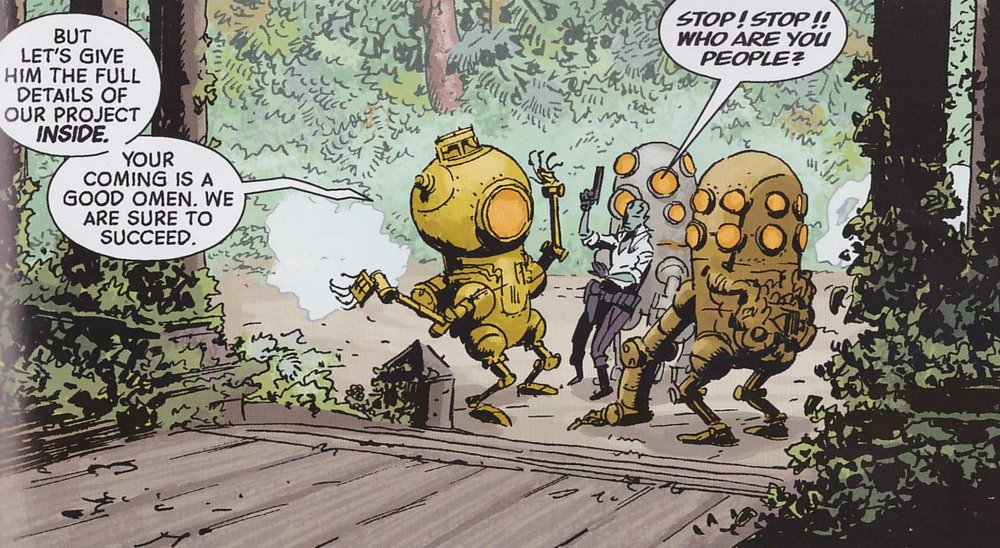 Writer:   Mike Mignola & John Arcudi  It's a robot party!   Artist:   Guy Davis   Colorist:   Dave Stewart  Who could ask for more?
