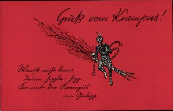 Postcard Krampus, Warst nicht brav, drum hoppla hopp