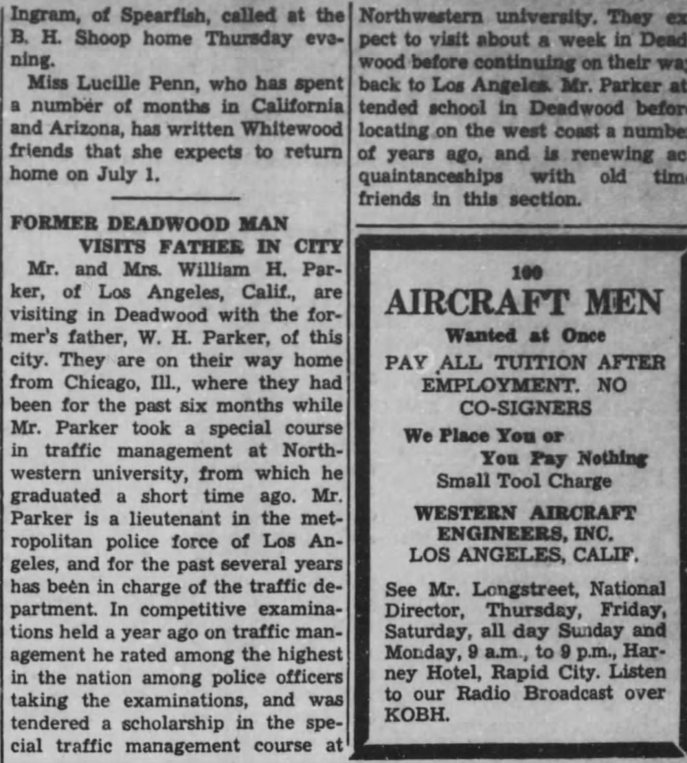 A visit home - The June 18, 1941 edition of the Deadwood Pioneer-Times documents Parker's visit to his boyhood home.