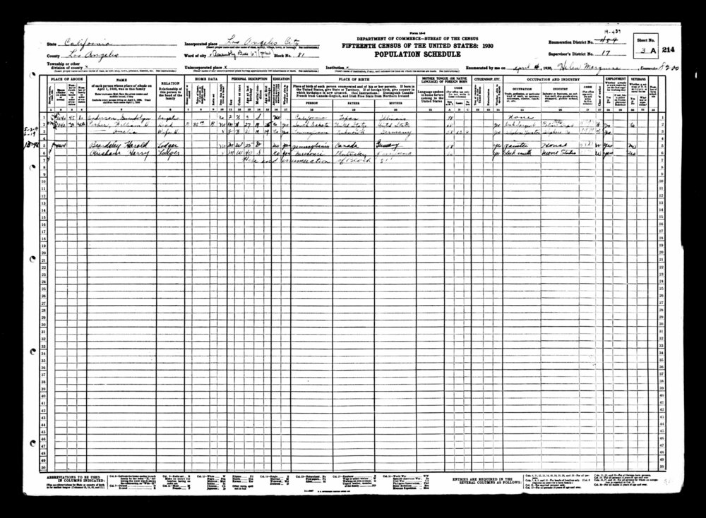 1930, married with new digs - The 1930 Census shows Parker and his first wife living at 1040 West 43rd Street