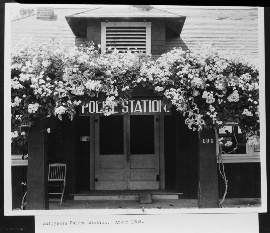 This was the Hollywood Police Station / City Hall, before Hollywood was a part of Los Angeles. Circa 1906. The address was 131 South Cahuenga Boulevard.   PHOTO COURTESY: LOS ANGELES PUBLIC LIBRARY