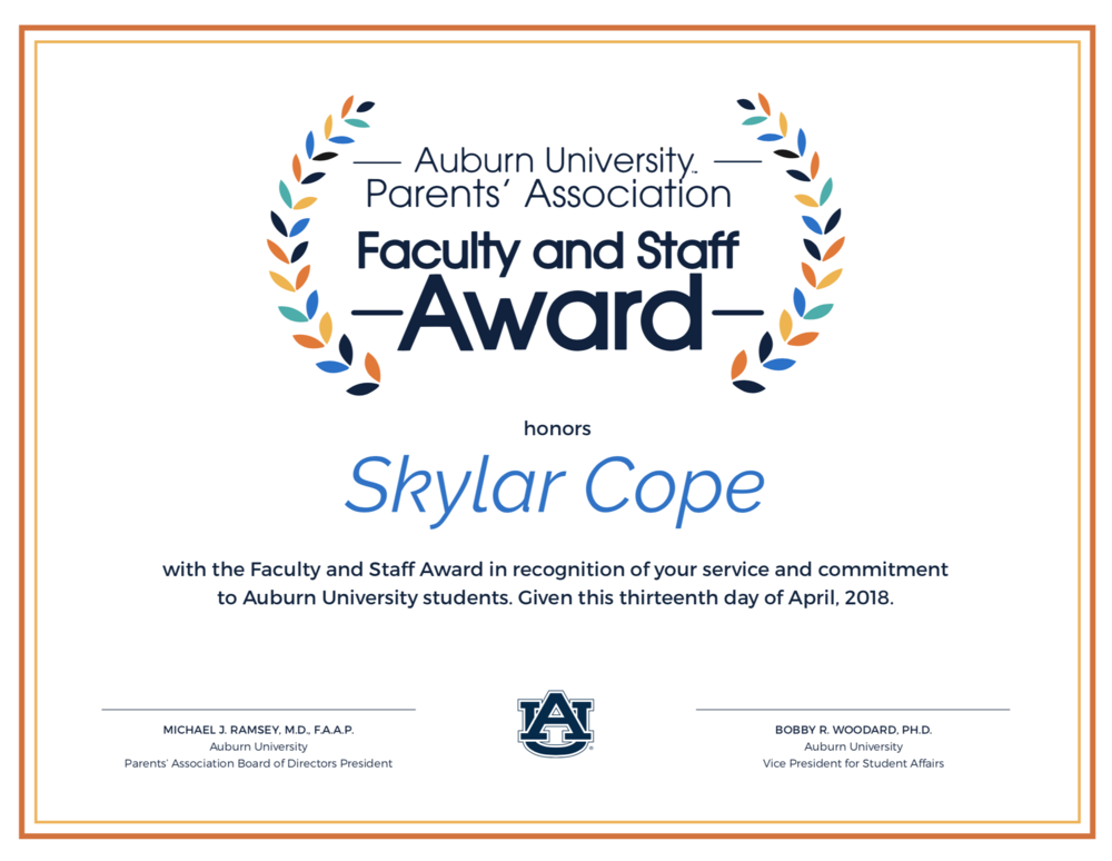 Parent's Association Certificate for the Faculty and Staff Award, April 2018