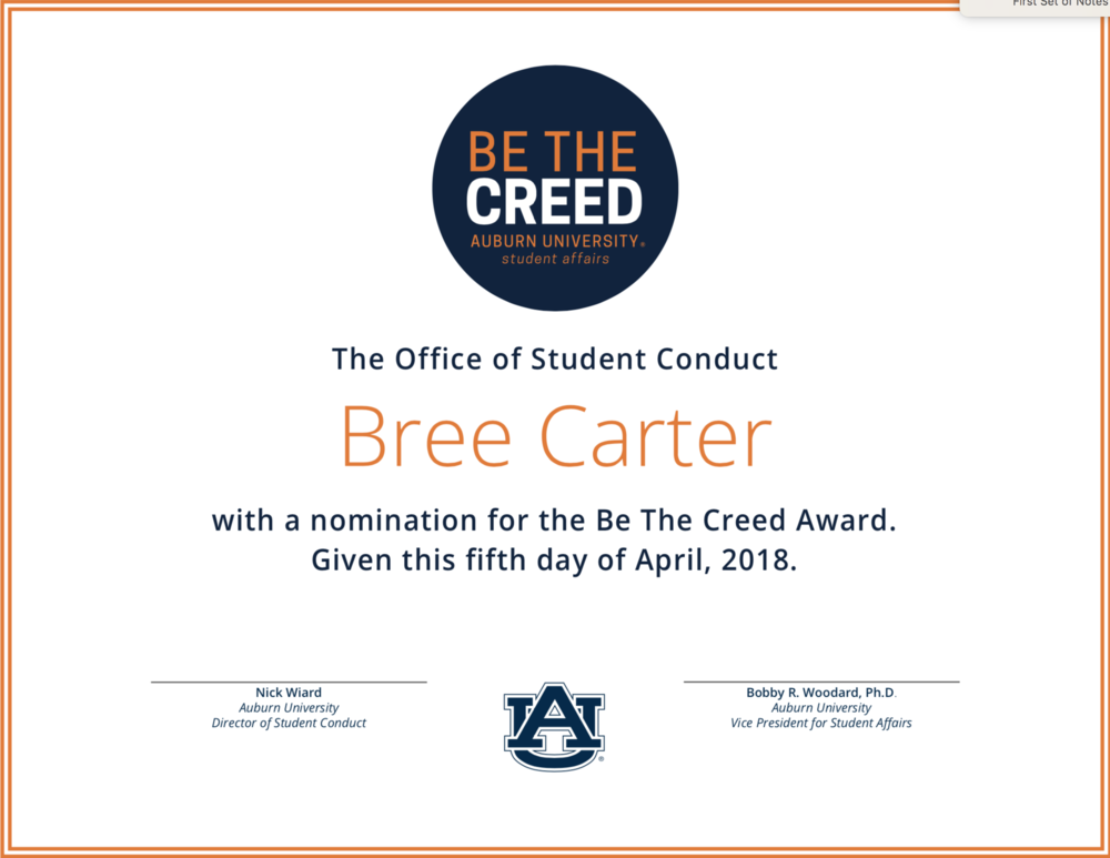 Student Affairs Certificate for the Bee the Creed Award, March 2018
