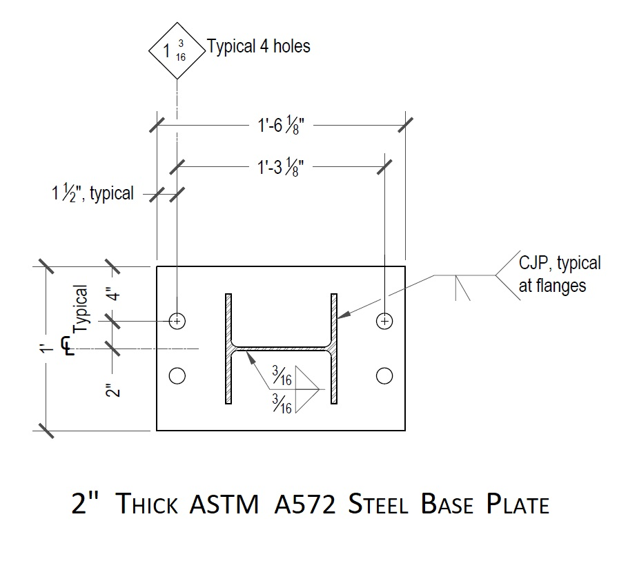 Example of a welded base-plate provided by Quake Bracing