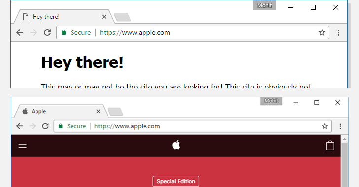 The use of Punycode in the URL obfuscates the fake Apple.com webpage
