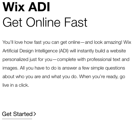 Wix advertises how fast and easy it is to set up a website