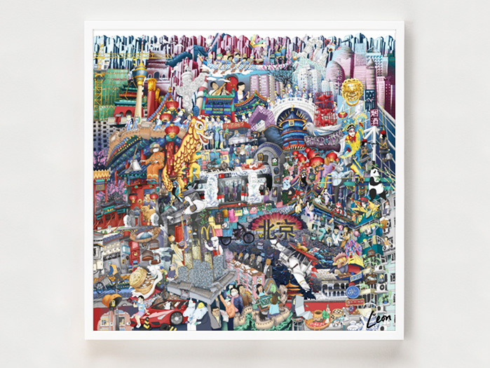 Beijing Technicolour Dream Coat - 80 x 80 cm. Brimming with the glorious buzz of the city from its flying tuk tuks to its eternal lions.