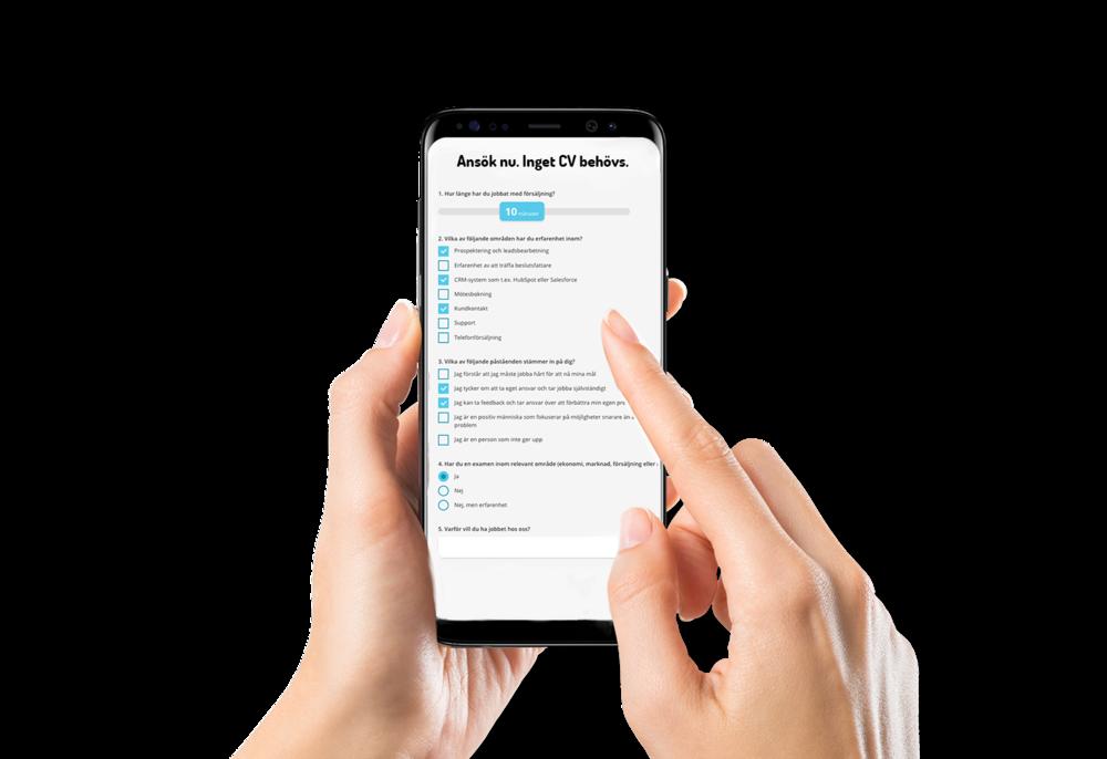 Kandidaten svarar direkt på de frågor du vill ha svar på istället för att skicka in CV som är svårt att hantera på mobilen. -