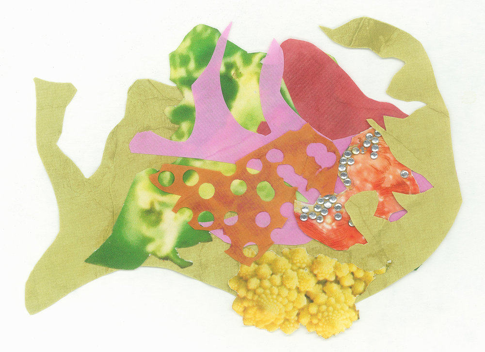 2018  Bloodwood dye, dragonfruit dye, matcha dye, rhinestones and inkjet prints on paper.  At largest: 12 x 8 cm.