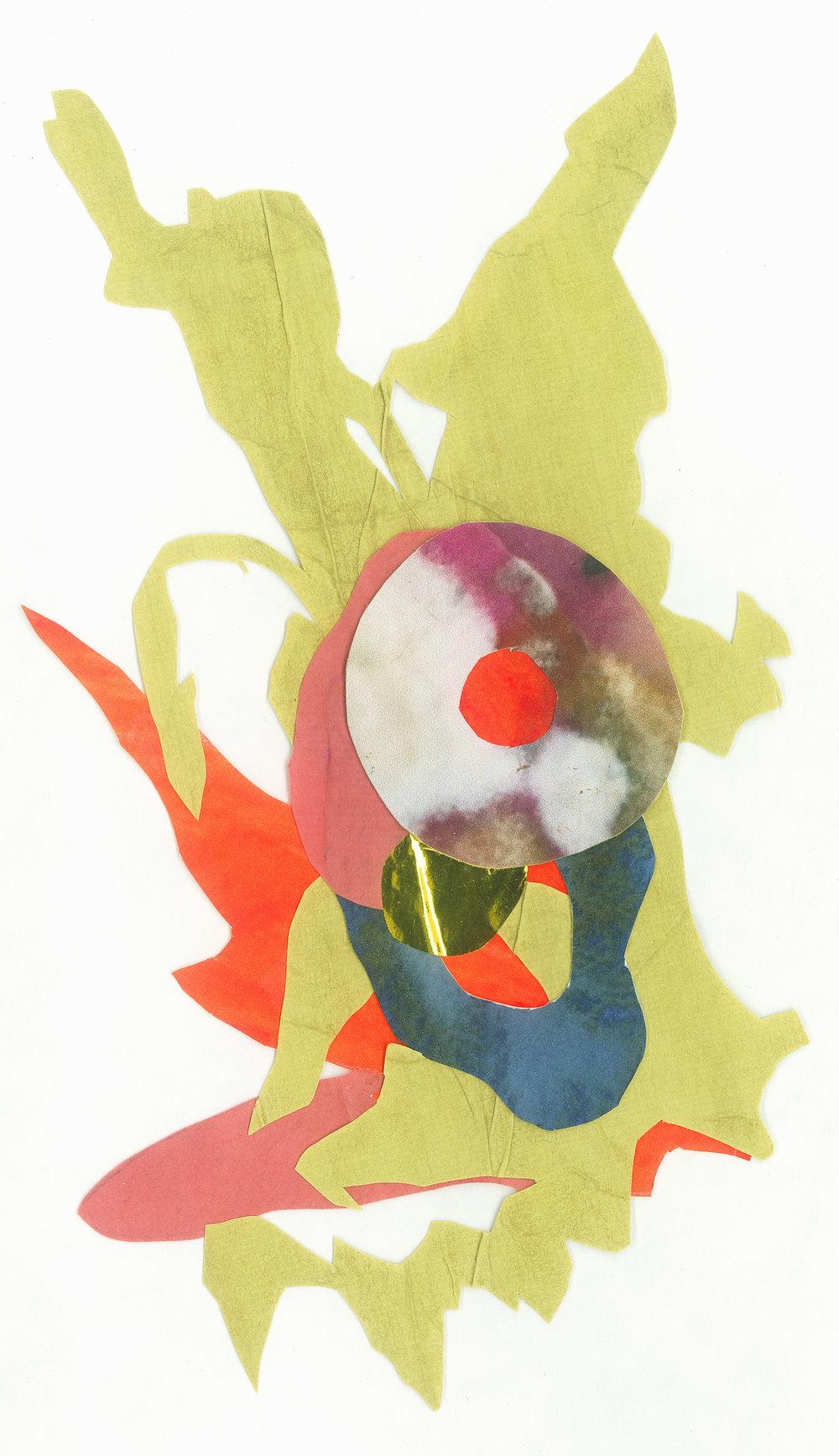 2018  Matcha dye, bloodwood dye, purple cabbage dye, metallic paper, and inkjet prints on paper.   At largest: 12 x 5 cm.