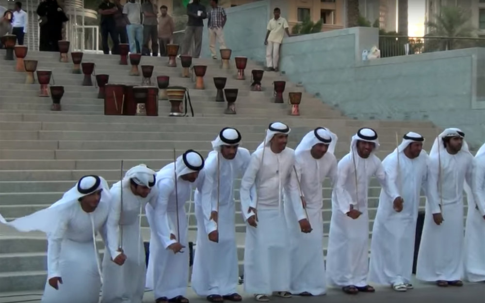 23.Al-Ayyala / Oman / United Arab Emirates - Al-Ayyala is a dance performed in north-western Oman but also practises in the United Arab Emirates. Two rows of men facing each other with thin bamboo sticks in their hands simulate a battle. The dance involves chanted poetry and drum, cymbals and tambourines. It is a traditional group dance accompanied by traditional music. Separate group of male and female are represented. Leather bagpipes, flute and drums are the traditional musical instrument played during the dance.