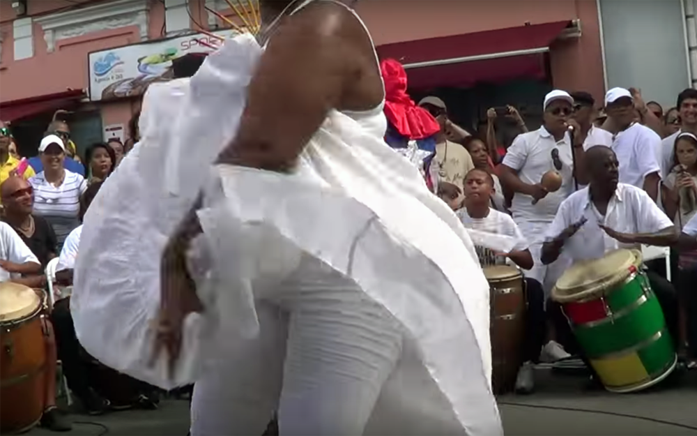 109.Bomba / Puerto Rico - Bomba is a traditional music and dance style from Puerto Rico that were started by slaves on the island. It is the mixture of the three different cultures of the island, the African, Spanish and Taino cultures. The base rhythm is played by two or more drums.