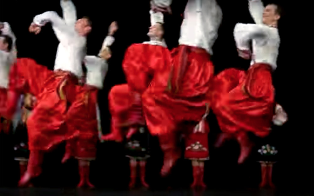380.Hopak / Ukraine - Hopak, also referred to as Gopak and Prisyadka is a Ukrainian folk dance originating as a male dance among the Zaporozhian Cossacks but later danced by couples, male soloists and mixed groups of dancers. It is performed mostly as a solitary dance by amateur and professional Ukrainian dance ensembles, as well as other performers of folk dances. It has also been incorporated into larger artistic opuses such as operas and ballets.