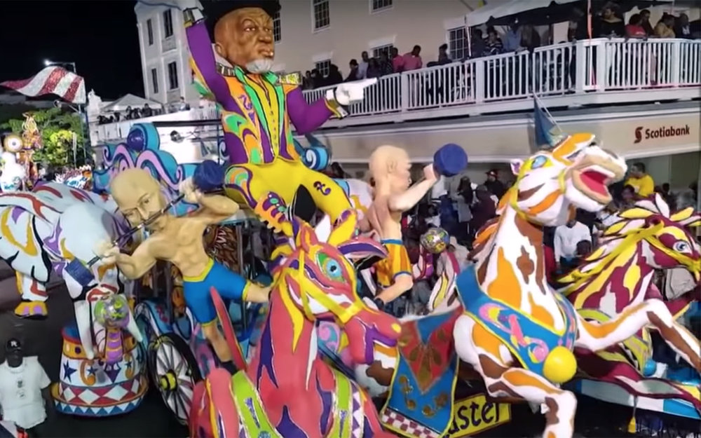 "414.Junkanoo / Bahamas - Junkanoo is a parade with music, dance and costumes in many cities around the Bahamas. It is the most important parade in the Bahamas. It is called Junkanoo that could derive from the French word ""l'inconnu"