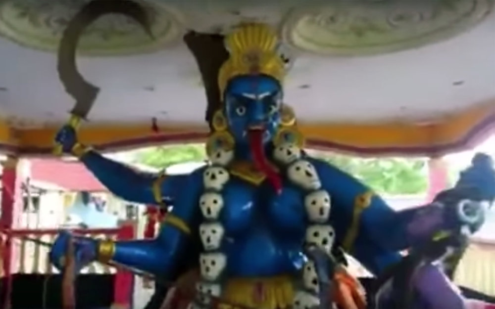 446.Kali amman / India - Kali amman is a dance usually performed in different parts of southern India, where a dancer dresses up as Kali, the goddess of destruction, wearing a huge mask and performs at different Kali amman festivals at temples.
