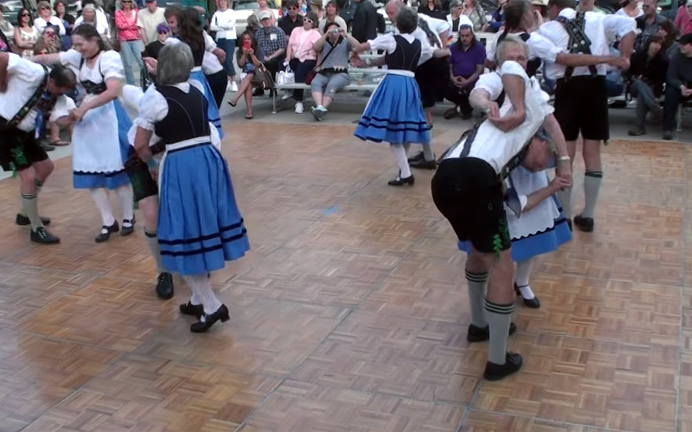 530.Ländler / Germany / Austria / Switzerland / Italy / Slovenia - Ländler called also Zillertaler is a folk dance in 4 time which was popular in Austria, south Germany, German Switzerland, and Slovenia at the end of the 18th century. It is a dance for couples which strongly features hopping and stamping. It was sometimes purely instrumental and sometimes had a vocal part, sometimes featuring yodelling. When dance halls became popular in Europe in the 19th century, it was made quicker and more elegant, and the men shed the hobnail boots which they wore to dance. Along with a number of other folk dances from Germany and Bohemia, it is thought to have contributed to the evolution of the waltz. The Broadway musical, later film, The Sound of Music, and the 2013 TV special, The Sound of Music Live!, features a scene where the protagonists Maria and Captain von Trapp dance a Ländler.