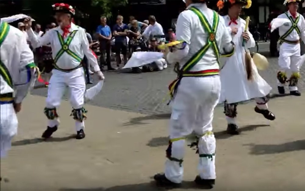 616.Morris DancE / England / Wales - Morris DancE is a form of English folk dance usually accompanied by music. It is based on rhythmic stepping and the execution of choreographed figures by a group of dancers, usually wearing bell pads on their shins. Implements such as sticks, swords and handkerchiefs may also be wielded by the dancers. In a small number of dances for one or two people, steps are near and across a pair of clay tobacco pipes laid one across the other on the floor. Nantgarw tradition is a style of Morris dancing from the South and Valleys regions of Wales, specifically associated with the small village of Nantgarw. The style encompasses both handkerchief and stick dances. The dances call for eight dancers in four pairs.