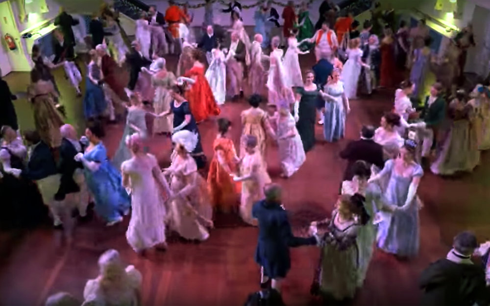 733.Regency Dance / England - Regency Dance is the term for historical dances of the period ranging roughly from 1790 to 1825. Most popular exposure to this era of dance comes in the works of Jane Austen. Balls occur in her novels and are discussed in her letters, but specifics are few. Films based on her works tend to incorporate modern revival English Country Dance; however, they rarely incorporate dances actually of the period and do them without the appropriate footwork and social style which make them accurate to the period.