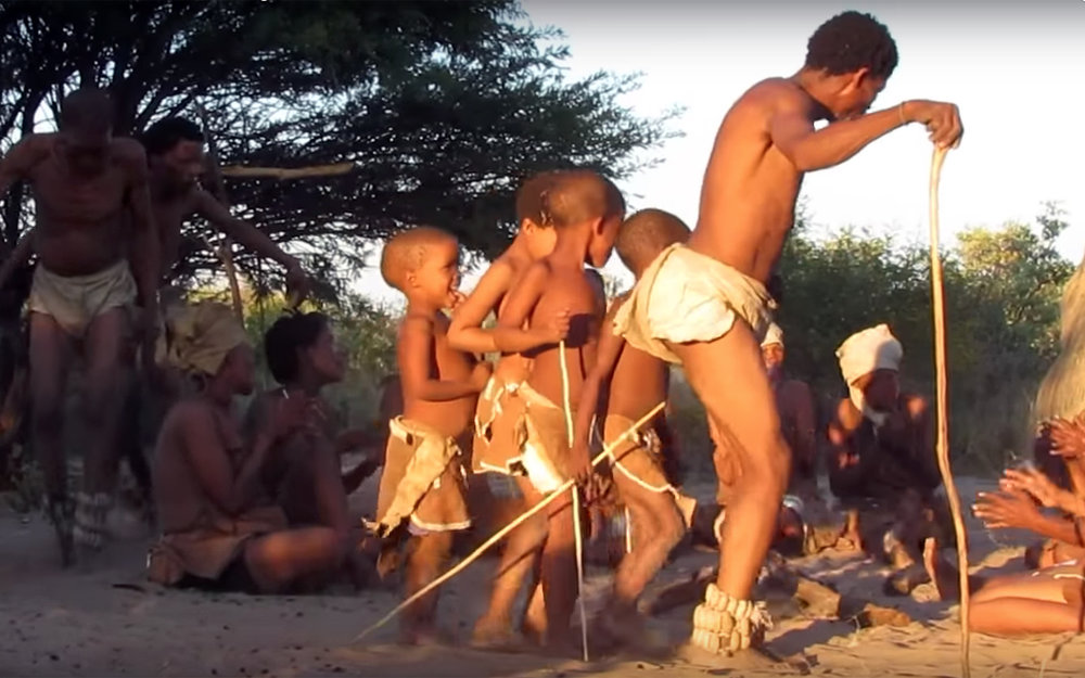 """752.San Dance / Botswana / Namibia - San Dance is a hunting and gathering dance (sometimes referred to as the rain dance) which the Sarwa tribe use to celebrate for good hunts, while the Tswana ethnic group use it for rain making or """"go fetlha pula"""". The Basarwa is classified as hunter-gatherers, therefore perform the rain dance as a celebratory dance to thank Gods for every successful hunt."""