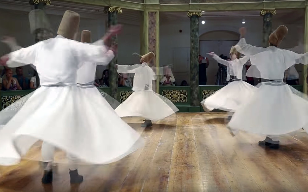 814.Sufi whirling / Turkey / Egypt / Global - Sufi whirling is a form of physically active meditation which originated among Sufis, and which is still practiced by the Sufi Dervishes of the Mevlevi order from Koyna in Turkey and other orders. It is a customary meditation practice performed within the Sema, or worship ceremony, through which dervishes aim to reach the source of all perfection. This is sought through abandoning one's nafs, egos or personal desires, by listening to the music, focusing on God, and spinning one's body in repetitive circles, which has been seen as a symbolic imitation of planets in the Solar System orbiting the sun. The Mevlevi practice gave rise to an Egyptian form, tanoura, distinguished by the use of a multicoloured skirt. This has also developed into a performance dance by non-Sufis, including dancers outside the Islamic world.