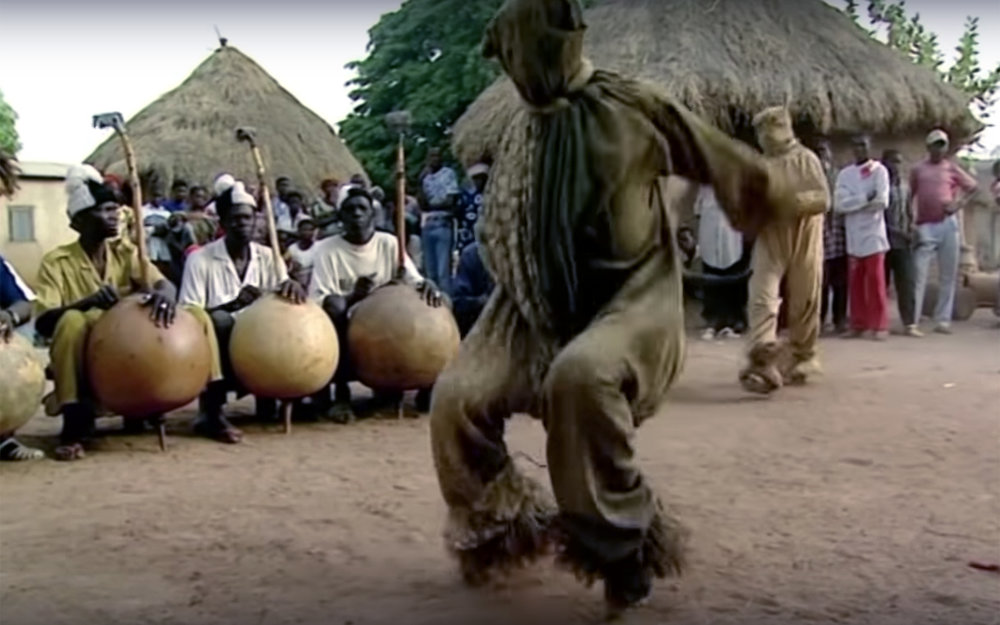 674.PANTHER DANCE / Ivory Coast - PANTHER DANCE is a famous dance performed by the Senoufo people from Ivory Coast. It is performed by the men of the tribe upon the return of the young initiates after a period of isolation.