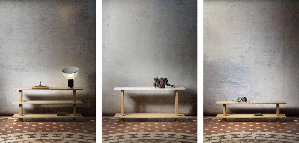Configurations de meubles de salon ouverts en chêne massif huilé avec top bois ou marbre, consoles et bancs