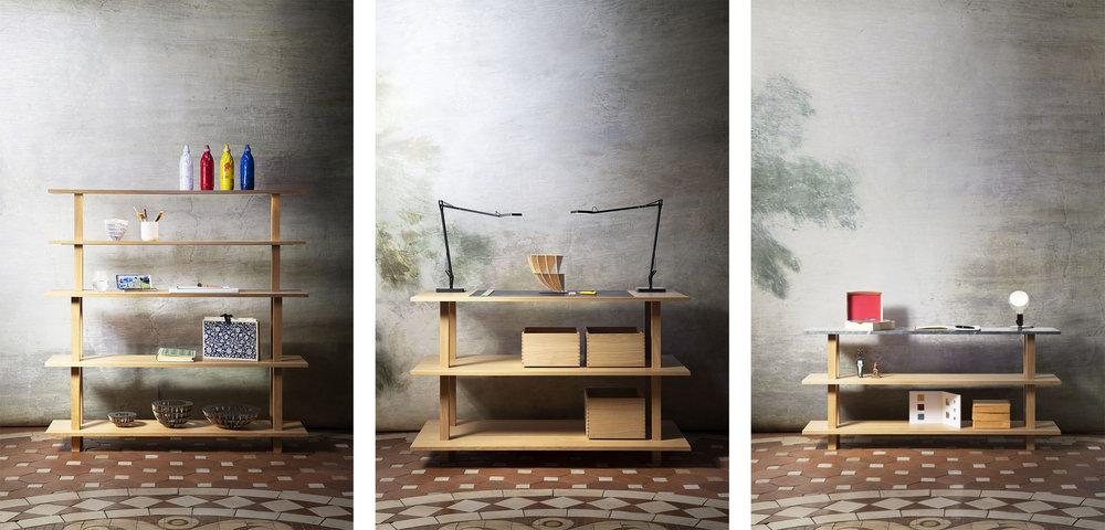 Configurations de meubles de travail ou d'atelier ouverts en chêne massif huilé avec top bois ou marbre, portiques éclairants et boites coulissantes de rangement