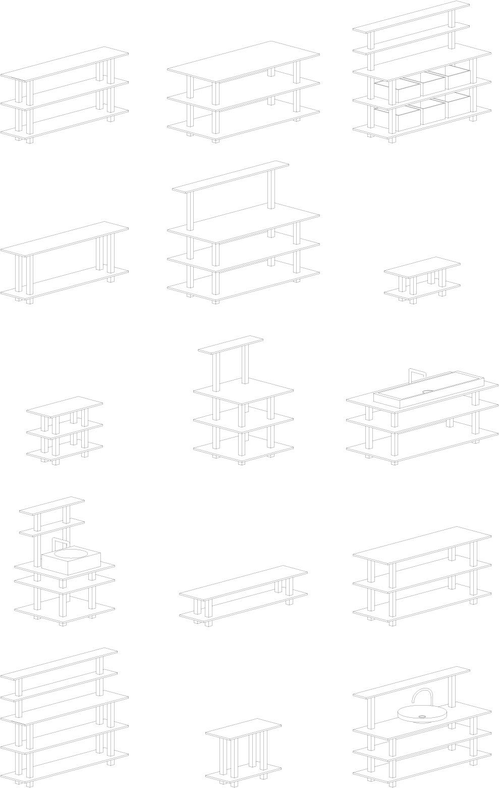 Vue en éclaté des éléments en chêne massif qui composent les meubles Plateforme