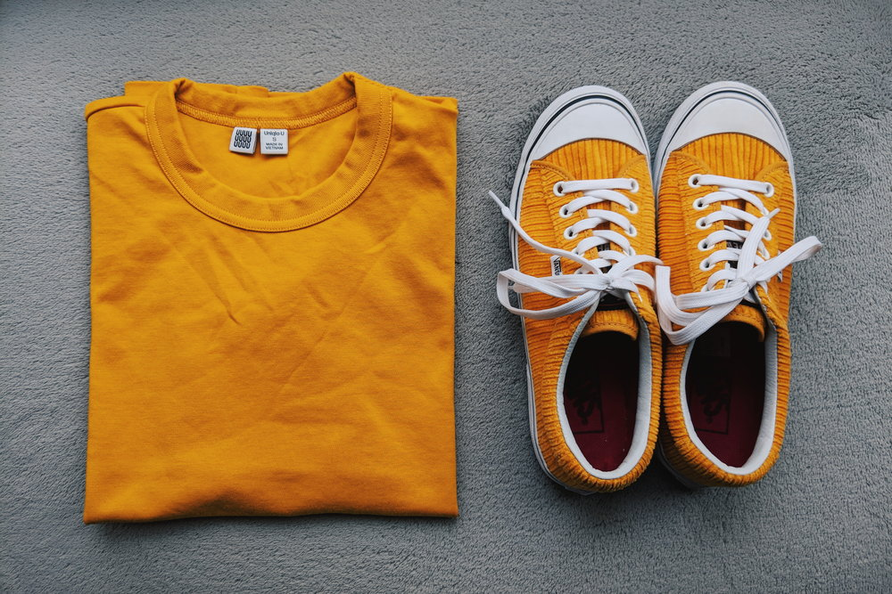Cotton tee from Uniqlo U  and  Corduroy sneakers from Vans .