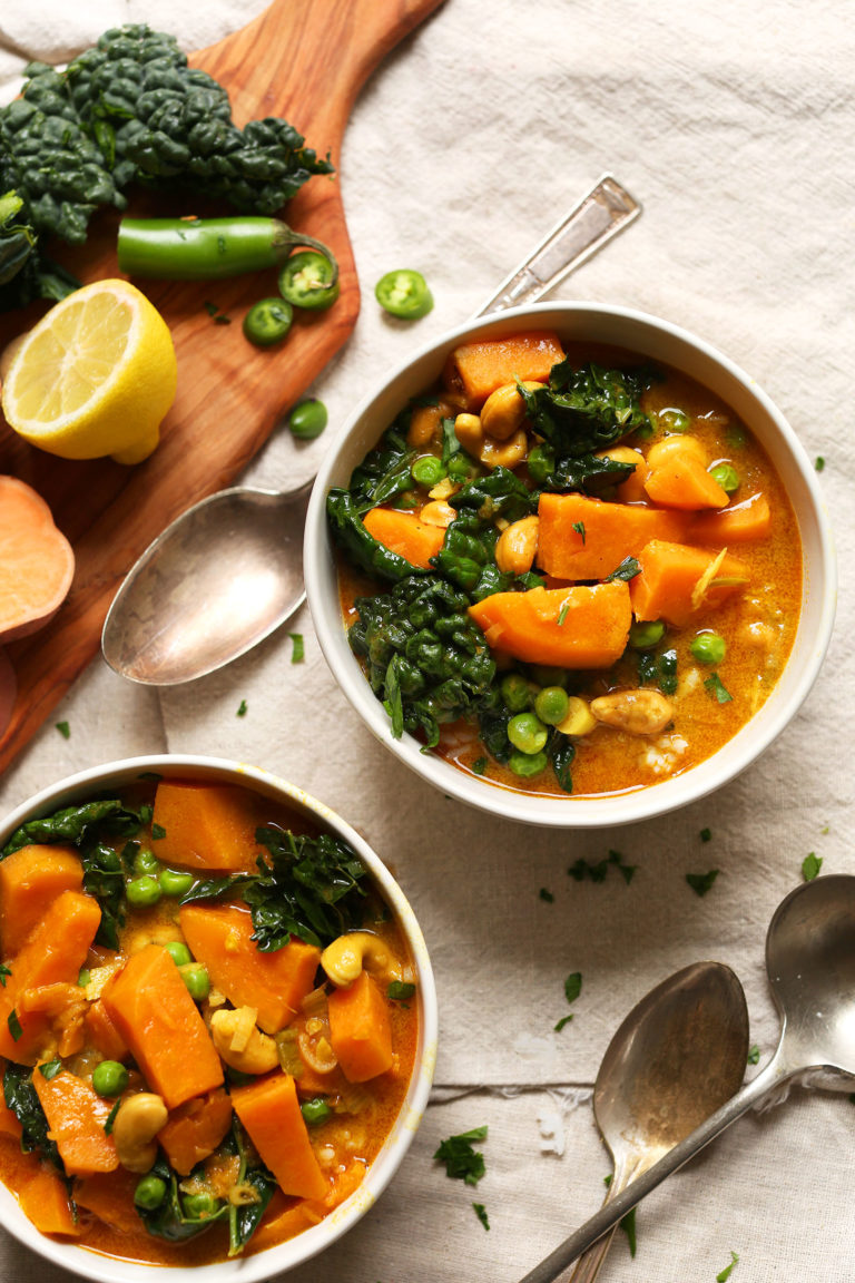 We'll be making more warming, autumnal recipes like this delicious  Kale and Sweet Potato Curry by Minimalist Baker , one of our favourites!  Photo from Minimalist Baker.