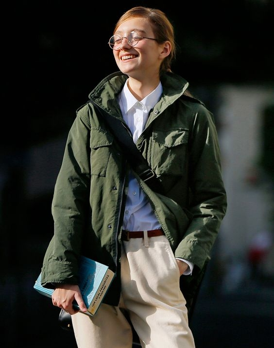 I have a khaki jacket just like this - I how it's styled here with light layers and simple, pulled back hair.