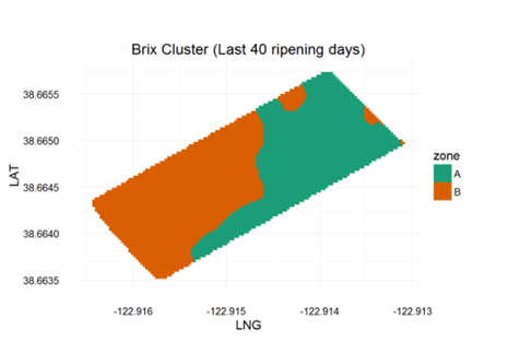 Figure 5. Clustering of Brix accumulation at the research site.