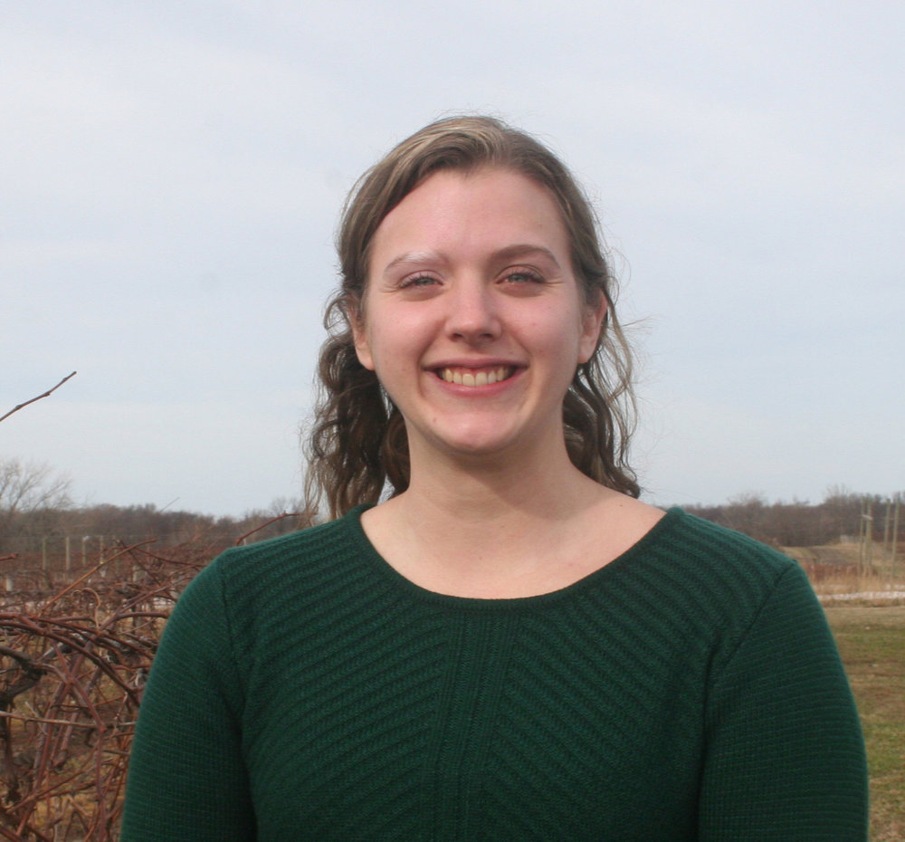 Heather Barrett - Program Aide IIHeather Barrett is a Program Aide II for the Efficient Vineyard Project. Heather received her Bachelor degree in Environmental Sciences and a Master's degree in Biology at the State University of New York at Fredonia. She has been a part of several projects involving environmental sustainability with regards to anthropogenic pollutants prior to being hired at the Lake Erie Regional Grape Program. Here at Cornell she has been a part of data collection for the CAPS project and has worked on various methods for IPM outreach. Born in Brocton, New York, Heather hopes to help the Lake Erie Grape belt become more sustainable both economically and environmentally through the work done with the Efficient Vineyard project.Heather's work with the Outreach and Technology Adoption team will focus on interpreting research results focused on making vineyard operations more sustainable and make that information available to growers and vineyard managers.