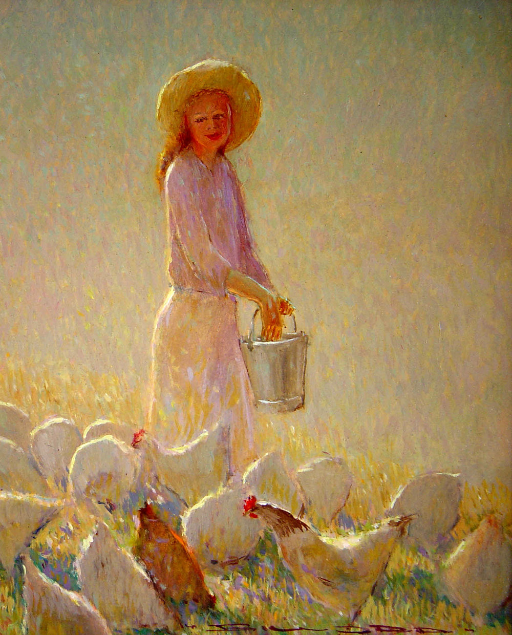 Girl Feeding Chickens