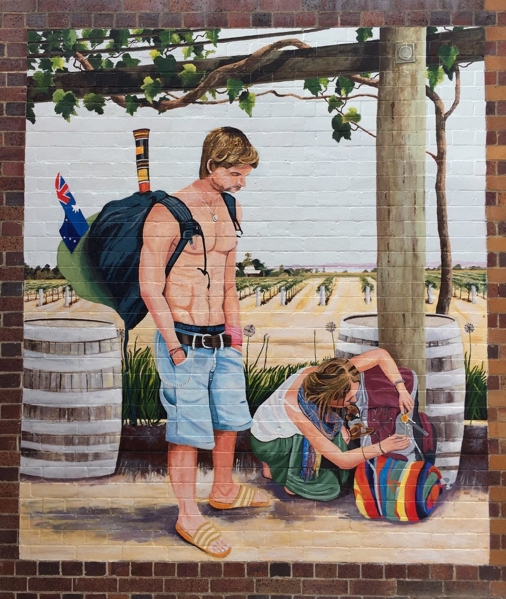 Backpacker mural - Based on an original image by Laurie Astill, local artists Dean Ford and Julie Brown assisted Laurie to bring this scene to life on the wall between the Post Office and the Chemist. Thanks to SDRC and RADF funding and Rod Kelly our Local Councillor for his support in this great initiative.
