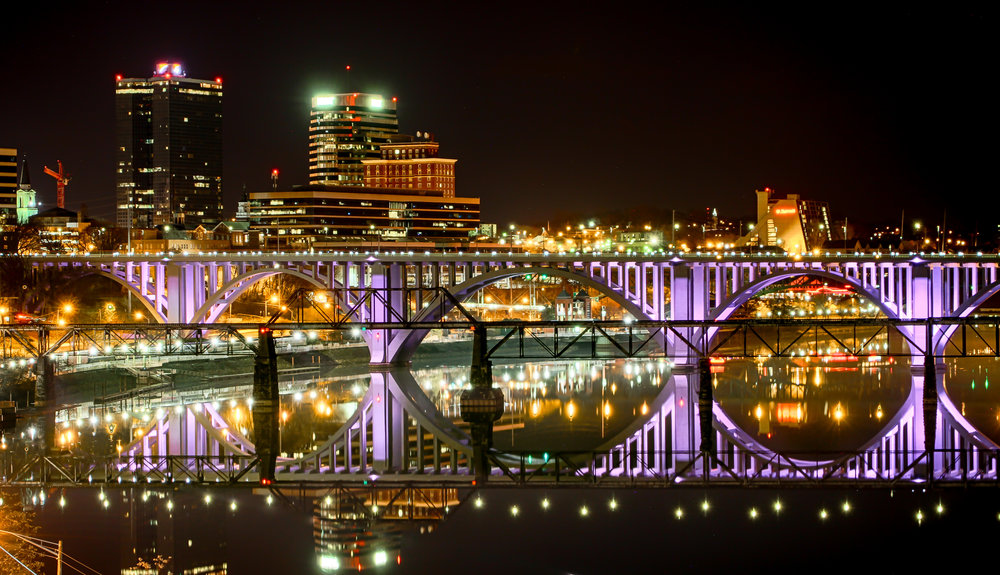 Henley Bridge/Downtown Knoxville at night, Courtesy Bruce McCamish Photography