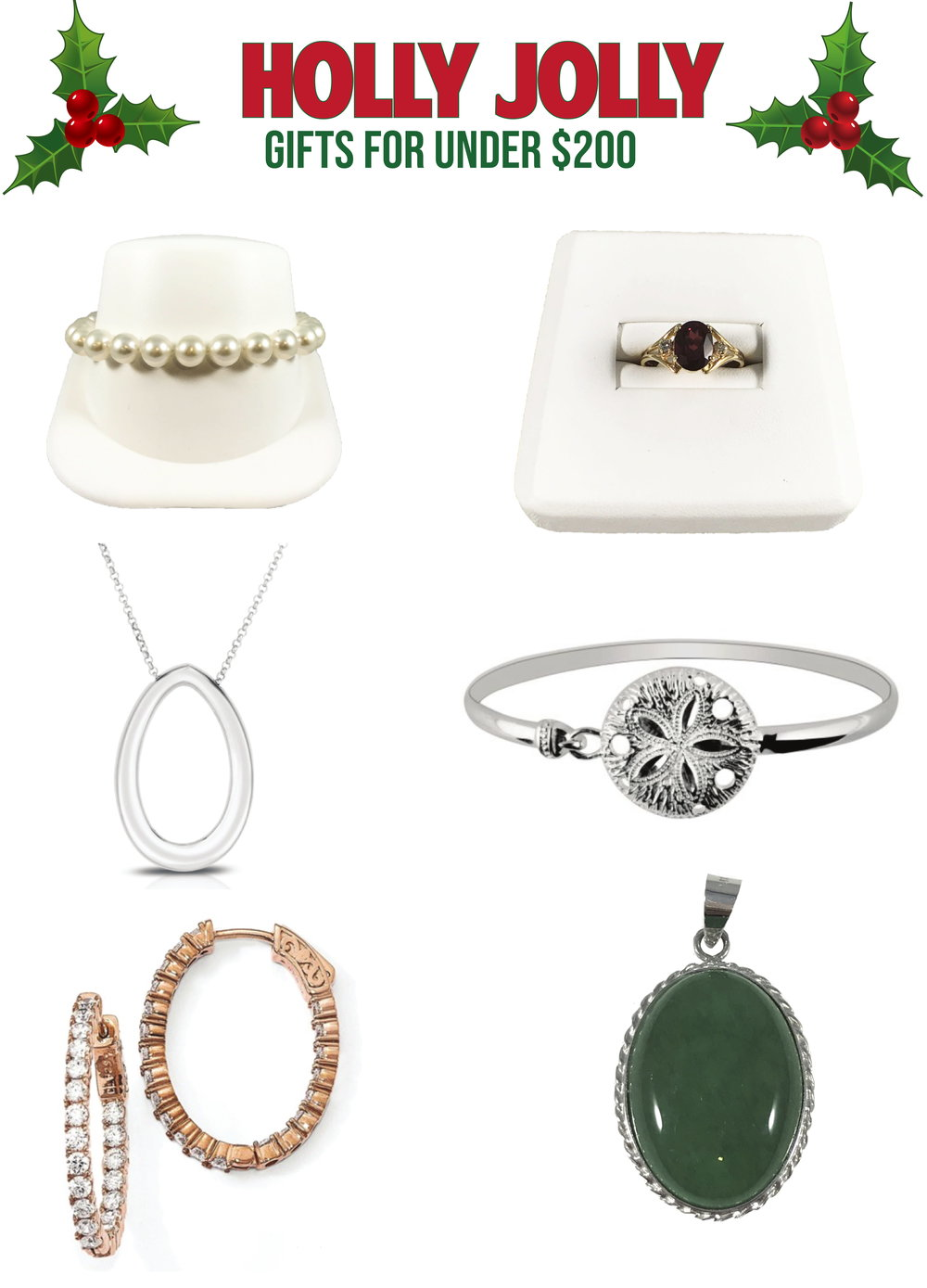 Listed: - 1. 8x8 1/2mm Fresh Water Pearl Bracelet2. Oval Garnet and Diamond Ring3. Large Oval Pendant with Cable Link Chain4. Shiny Textured Sand Dollar Top Bangle5. CZ In And Out Oval Hoop Earrings6. Jade Pendant